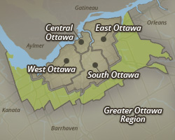 Map of Central Ottawa, East Ottawa, South Ottawa, West Ottawa and the outlying Greater Ottawa Region